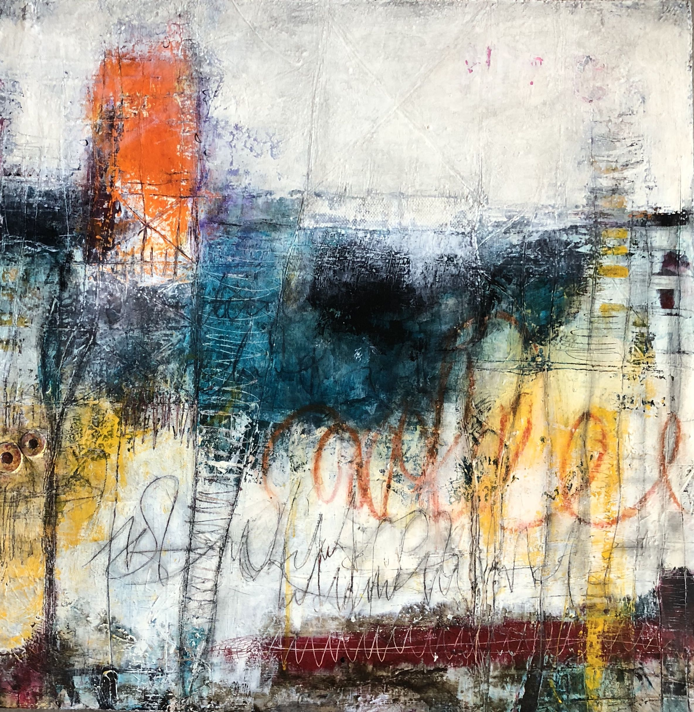 Mixed media painting series titled New To The City #1 by abstract artist and painter Ann Golumbuk