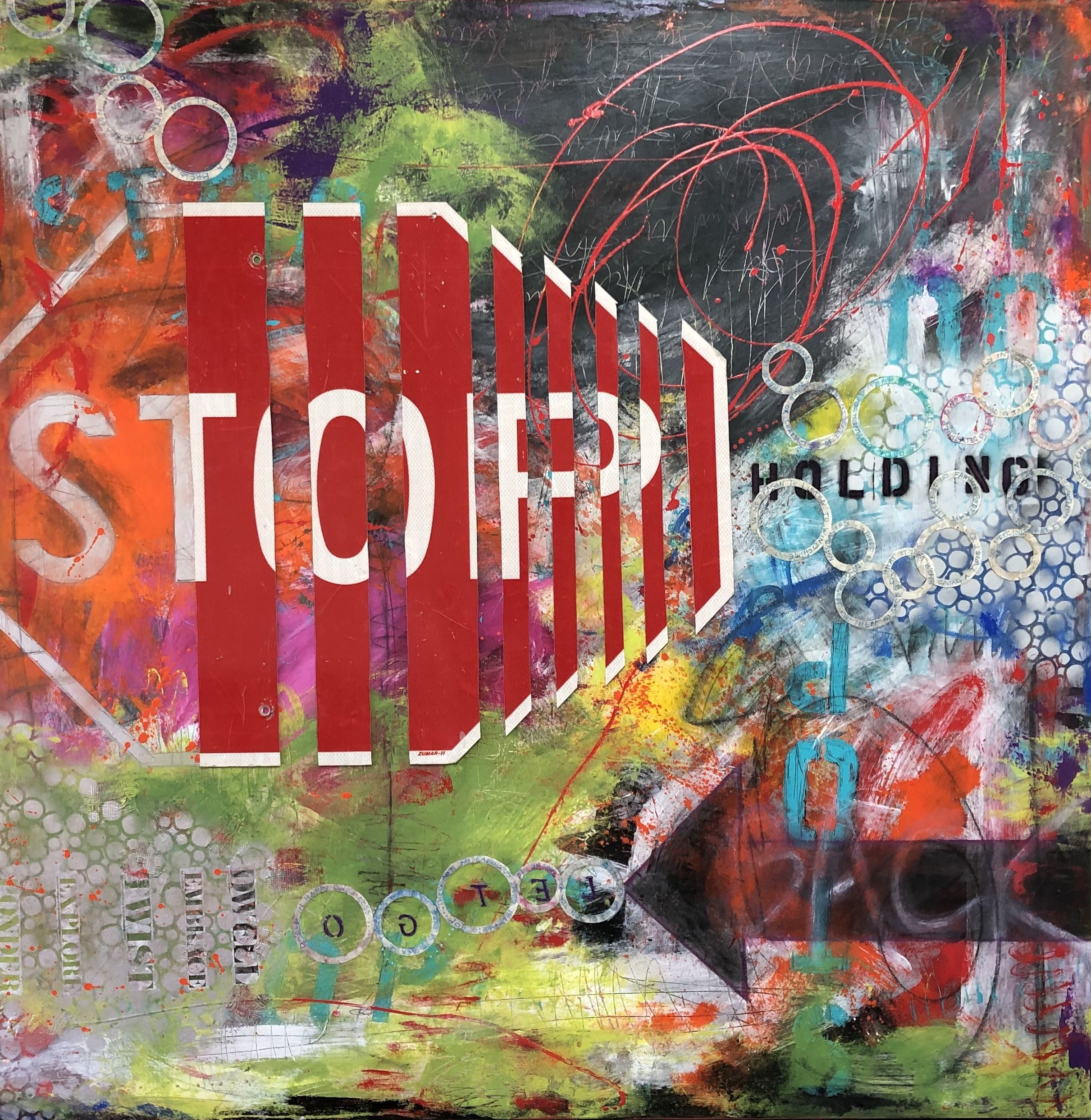 Abstract mixed media painting titled Stop Holding Back by San Diego artist and painter Ann Golumbuk