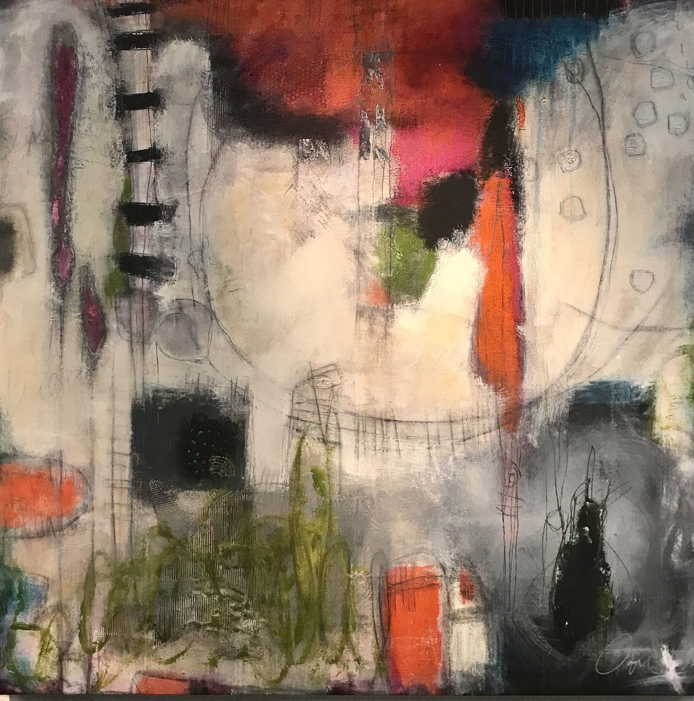 Abstract mixed media painting titled The Ferris Wheel of Life by artist and painter Ann Golumbuk