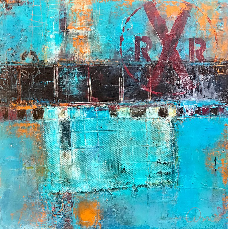 Abstract art titled Down By The Tracks #2 by San Diego based painter and artist Ann Golumbuk