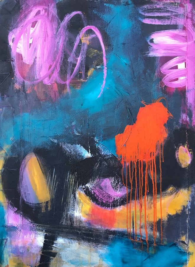 Abstract painting for sale titled In Living Color by San Diego artist Ann Golumbuk