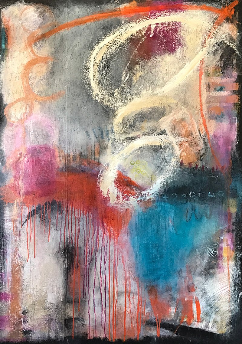 Insanity lies here abstract painting by Ann Golumbuk