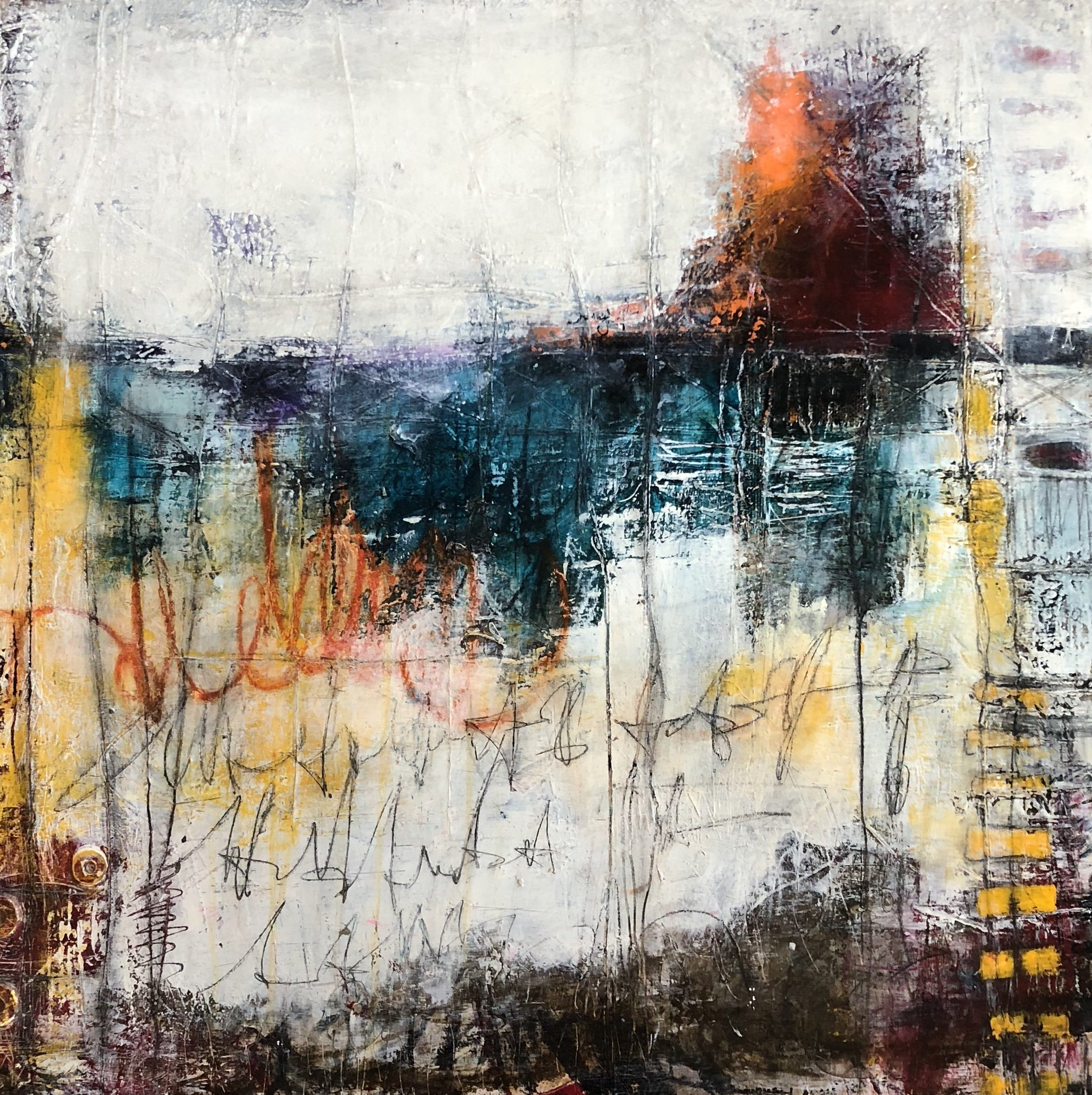 Mixed media painting series titled New To The City #2 by abstract artist and painter Ann Golumbuk