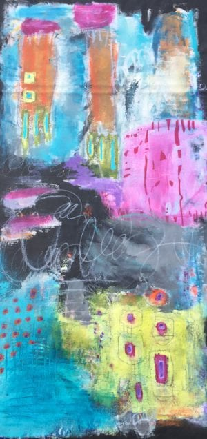 Abstract painting titled Night At Carnival by San Diego artist Ann Golumbuk