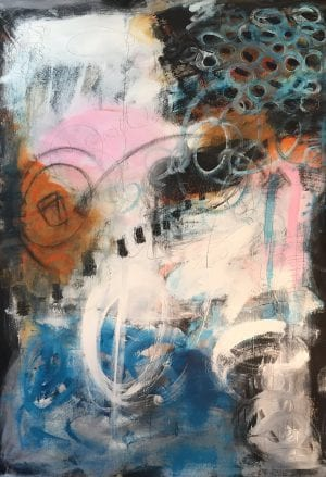 Abstract painting titled Outragious by San Diego artist Ann Golumbuk