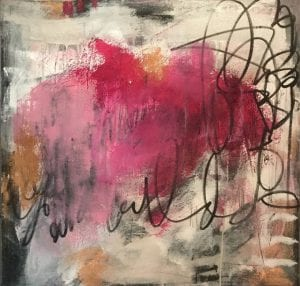 Abstract painting titled pink lemonade #1 by San Diego art teacher Ann Golumbuk