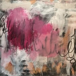 abstract painting titled pink lemonade #2 by San Diego artist Ann Golumbuk