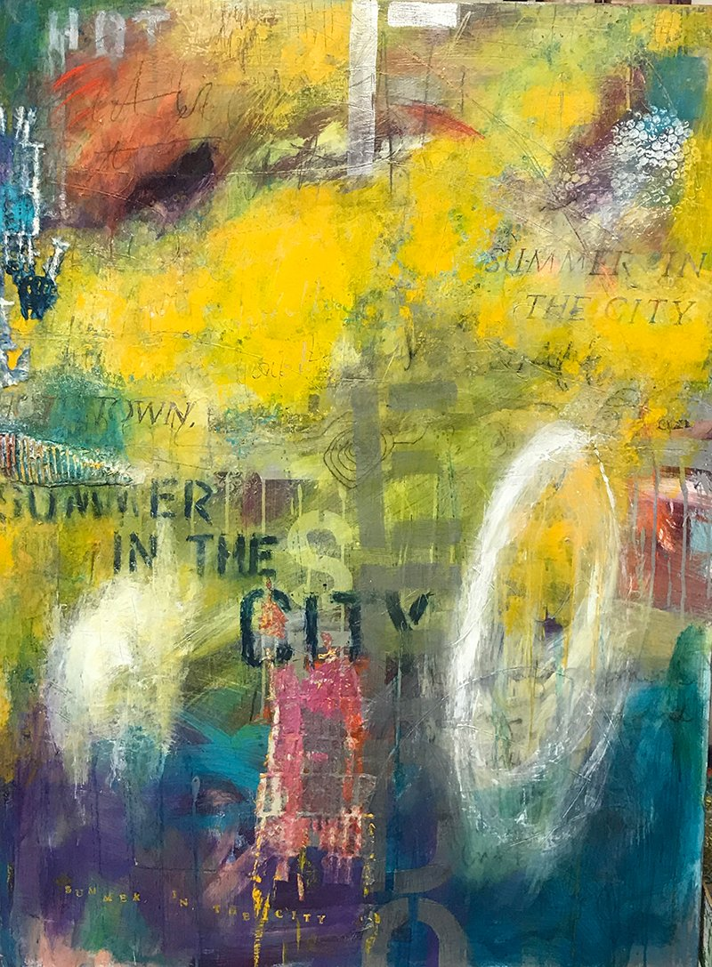 Abstract painting titled Summer In The City by artist Ann Golumbuk