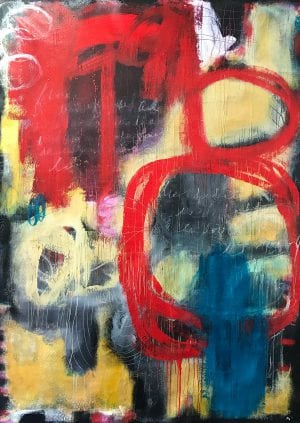 Abstract art titled Write It In A Love Song by San Diego painter Ann Golumbuk