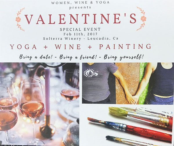 Valentine's Yoga, Wine, and Painting event poster