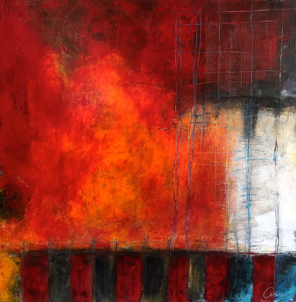 Abstract painting titled Fire and a Movie by award winning abstract painter Ann Golumbuk