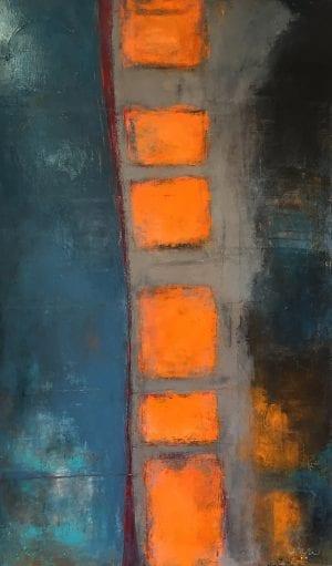 Abstract painting titled Their Treasure Chest by award winning artist and art teacher Ann Golumbuk