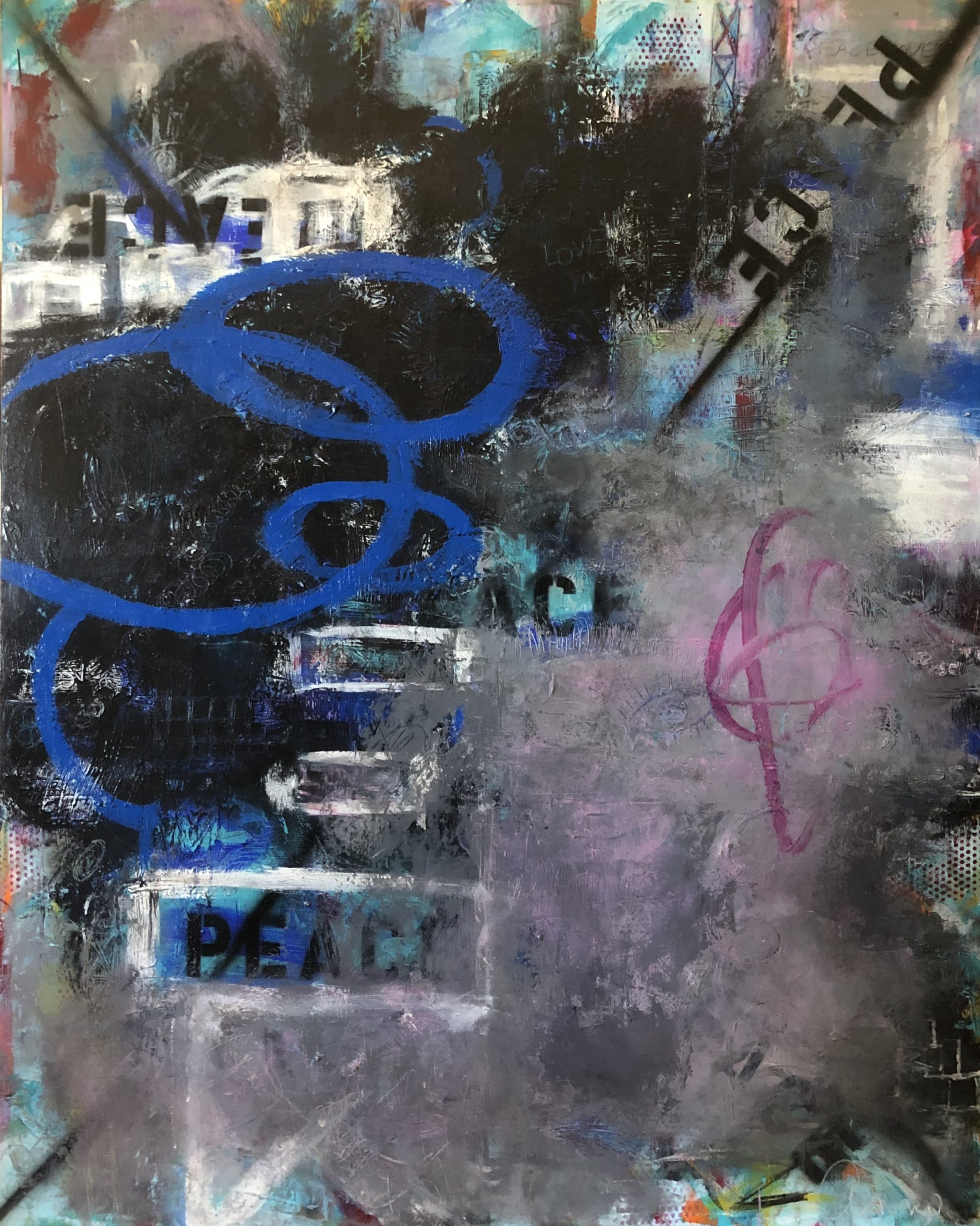 Abstract Painting titled Deeper Side of Seven by San Diego artist Ann Golumbuk